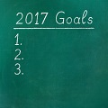 2017 Goals written with chalk on a green board